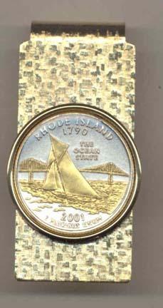 Rhode Island Two Tone Statehood Quarter Hinged Money Clip