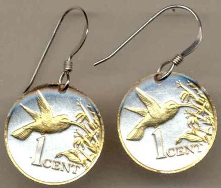"Trinidad & Tobago 1 Cent ""Hummingbird"" Two Tone Coin Earrings"