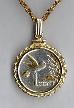 """Trinidad & Tobago 1 Cent """"Hummingbird"""" Two Tone Rope Bezel Coin on 18"""" Chain"""