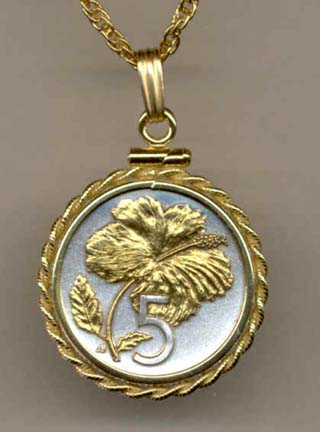 """Cook Islands 5 Cent """"Hibiscus"""" Two Tone Rope Edge Coin Pendant with 18"""" Chain"""