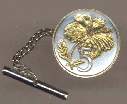 Cook Islands 5 Cent 'Hibiscus' Two Tone Gold on Silver World Coin Tie Tack