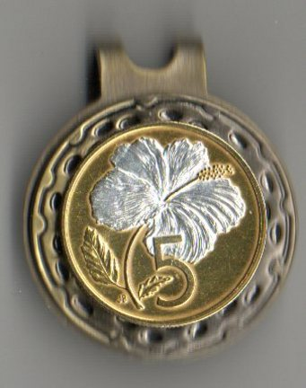 """Cook Islands 5 Cent """"White Hibiscus"""" Two Tone Coin Ball Marker"""