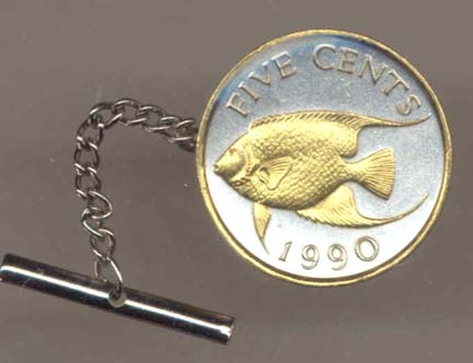 Bermuda 5 Cent 'Angel Fish' Two Tone Gold on Silver World Coin Tie Tack
