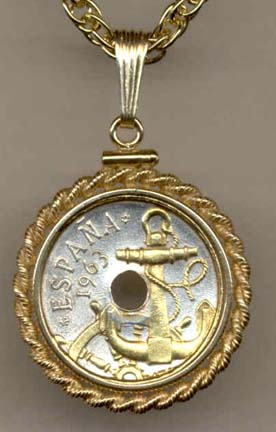 """Spanish 50 Centimes """"Anchor and Ship's Wheel"""" Two Tone Coin Pendant with 18"""" Chain"""