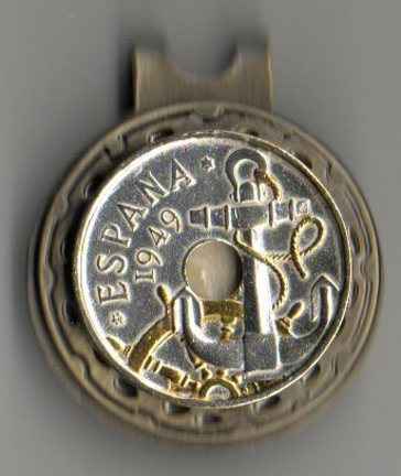 "Spanish 50 Centimes ""Anchor and Ships Wheel"" Two Tone Coin Ball Marker"