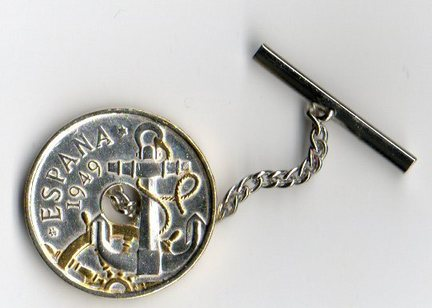 Spanish 50 Centimes 'Gold and Silver Anchor and Ships Wheel' Two Tone Coin Tie Tack