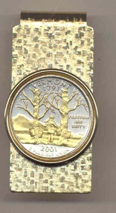 Vermont Two Tone Statehood Quarter Hinged Money Clip
