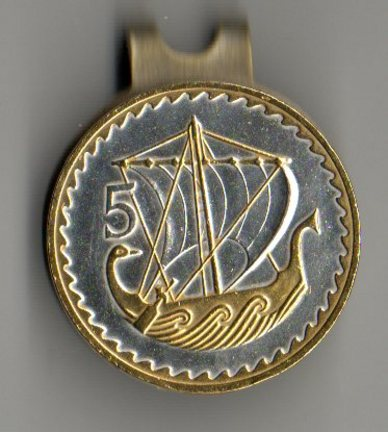 Cyprus 5 Mils 'Viking Ship' Two Tone Coin Ball Marker