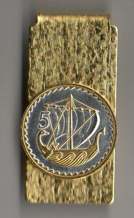 "Cyprus 5 Mils ""Viking Ship"" Two Tone Coin Hinge Money Clip"