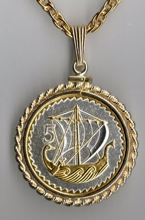 """Cyprus 5 Mils """"Viking Ship"""" Two Tone Rope Bezel Coin on 18"""" Chain"""