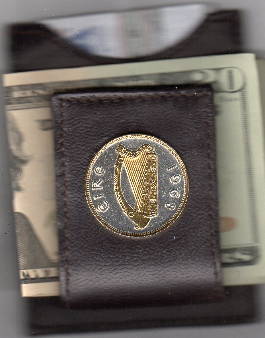 "Irish Penny """"Harp"""" Two Tone Coin Folding Money Clip"" JJJ-148FMC"