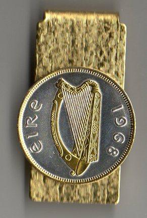 "Irish Penny ""Harp"" Two Tone Coin Hinge Money Clip"