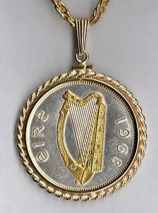 "Irish Penny ""Harp"" Two Tone Rope Bezel Coin on 24"" Chain"
