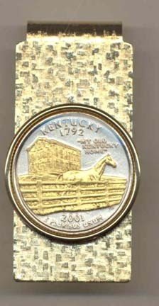 Kentucky Two Tone Statehood Quarter Hinged Money Clip