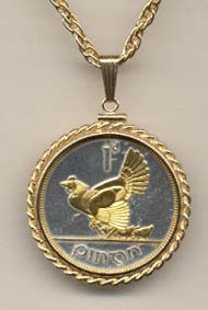 "Irish Penny ""Chicken with Chicks"" Two Tone Gold Filled Rope Bezel Coin on 24"" Necklace"