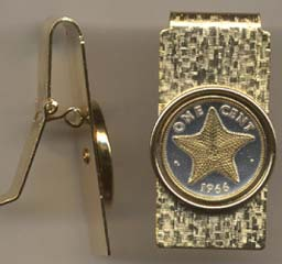 """Bahamas 1 Cent  """"Star Fish"""" Two Toned Coin Hinged Money Clip"""