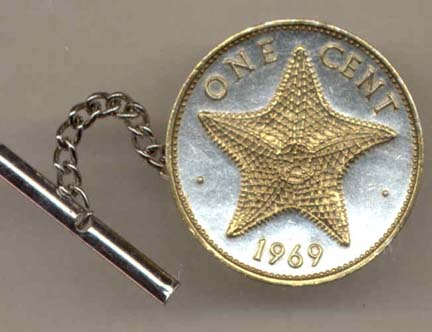 Bahamas 1 Cent 'Star Fish' Two Tone Gold on Silver World Coin Tie Tack