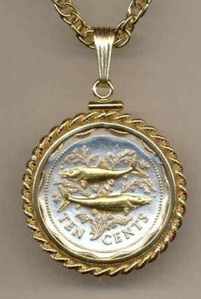 """Bahamas 10 cent """"Bone Fish"""" Two Tone Gold Filled Rope Bezel Coin on 18"""" Necklace"""