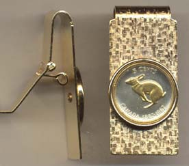 """Canadian Centennial 5 Cent """"Rabbit"""" Two Toned Coin Hinged Money Clip"""