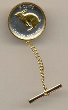 Canadian Centennial 5 Cent 'Rabbit' Two Tone Coin Tie Tack
