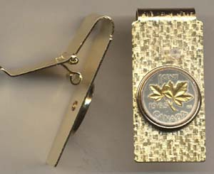 """Canadian Penny """"Maple Leaf"""" Two Toned Coin Hinged Money Clip"""