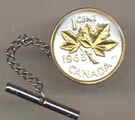 Canadian Penny 'Maple Leaf' Two Tone Gold on Silver World Coin Tie Tack