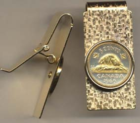 """Canadian Nickel """"Beaver"""" Two Toned Coin Hinged Money Clip"""