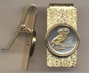 """Greek 2 Drachma """"Owl"""" Two Toned Coin Hinged Money Clip"""