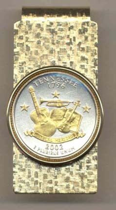 Tennessee Two Tone Statehood Quarter Hinged Money Clip