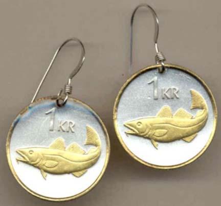 "Iceland 1 Krona ""Cod Fish"" Two Tone Coin Earrings"
