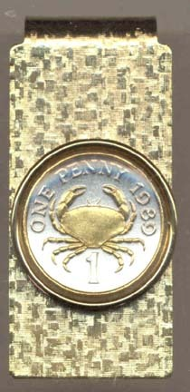 """Guernsey Penny """"Crab"""" Two Toned Coin Hinged Money Clip"""
