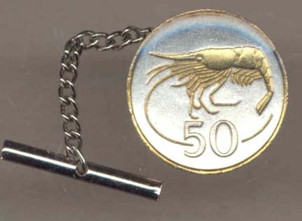 Iceland 50 Aurar 'Shrimp' Two Tone Gold on Silver World Coin Tie Tack