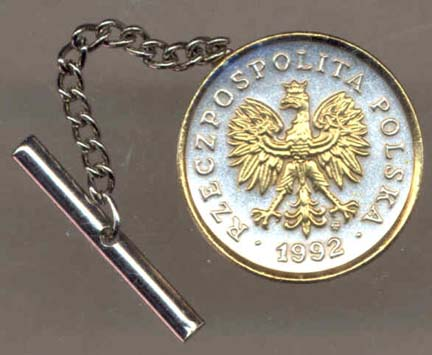 Polish 5 Groszy 'Eagle' Two Tone Gold on Silver World Coin Tie Tack