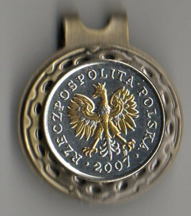 Polish 5 Groszy 'Eagle with Crown' Two Tone Coin Ball Marker