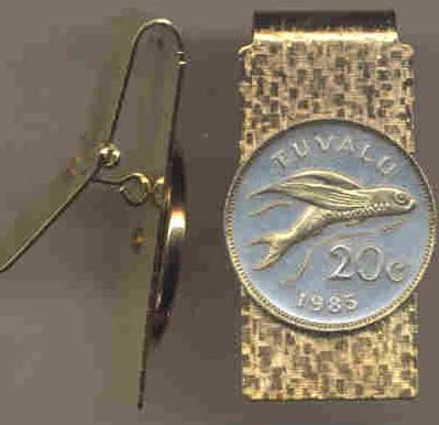 "Tuvalu 20 Cent ""Flying Fish"" Coin Hinged Money Clip"