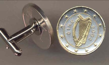 """Ireland One Euro """"Harp, Stars, Center Circle & Rim in Gold"""" Two Tone Gold on Silver World Cuff Links - 1 P"""