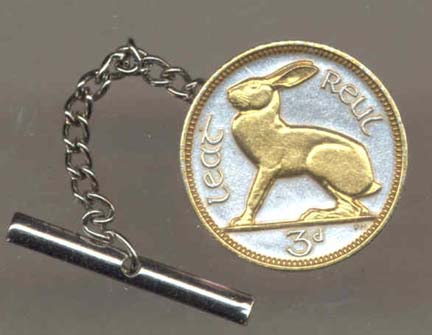 Ireland 3 Pence 'Rabbit' Two Tone Coin Tie Tack