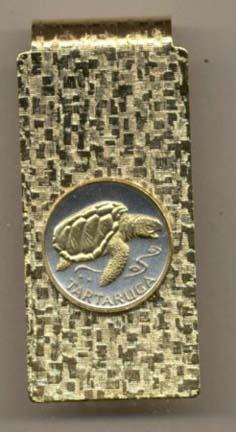 "Cape Verde 1 Escudos ""Sea Turtle"" Two Toned Coin Hinged Money Clip"