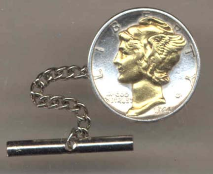 Mercury Dime (1916 - 1945) Two Tone Gold on Silver U.S. Coin Tie / Hat Tack
