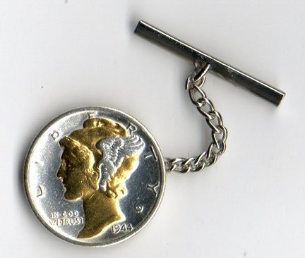 U.S. Mercury Dime Two Tone Coin Tie Tack (Minted 1916 - 1945)