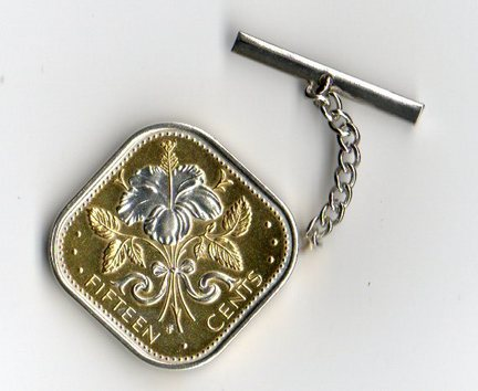 Bahamas 15 Cent 'White Hibiscus' Two Tone Coin Tie Tack
