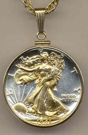 "Walking Liberty Half Dollar (1916 - 1947) Two Tone Plain Edge U.S. Coin with 24"" Chain"