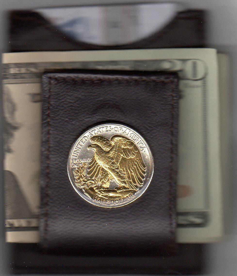 U.S. Walking Liberty Silver Reverse Half Dollar (1916 - 1947) Two Tone Coin Folding Money Clip JJJ-32FMC