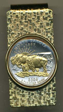 North Dakota Two Tone Statehood Quarter Hinged Money Clip