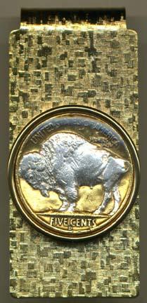 "Buffalo Nickel ""Sacred White Buffalo"" (1913-1938) Two Tone U.S. Coin Hinged Money Clip"