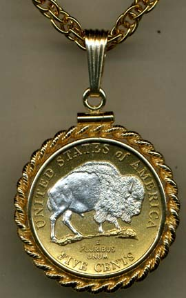 """New Jefferson Nickel """"Sacred White Buffalo"""" (2005) Two Tone Rope Bezel U.S. Coin with 18"""" Chain"""