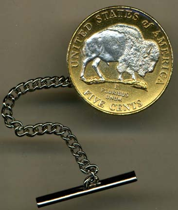 New Jefferson Nickel 'Sacred White Buffalo' (2005) Two Tone U.S. Coin Tie Tack