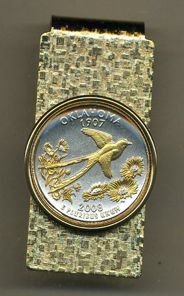 Oklahoma Two Tone Statehood Quarter Hinged Money Clip