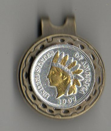 U.S. Indian Head Penny Two Tone Coin Ball Marker (Minted 1859 - 1909)
