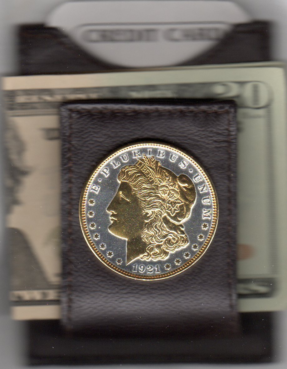 U.S. Morgan Silver Dollar (1878 - 1921) Two Tone Coin Folding Money Clip (Stars and Rim in Gold) JJJ-63AFMC